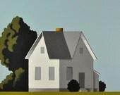 Huge Original Painting - Modern White Farmhouse on Canvas - Custom Made Farm - 36 x 36 Inches - Free Shipping