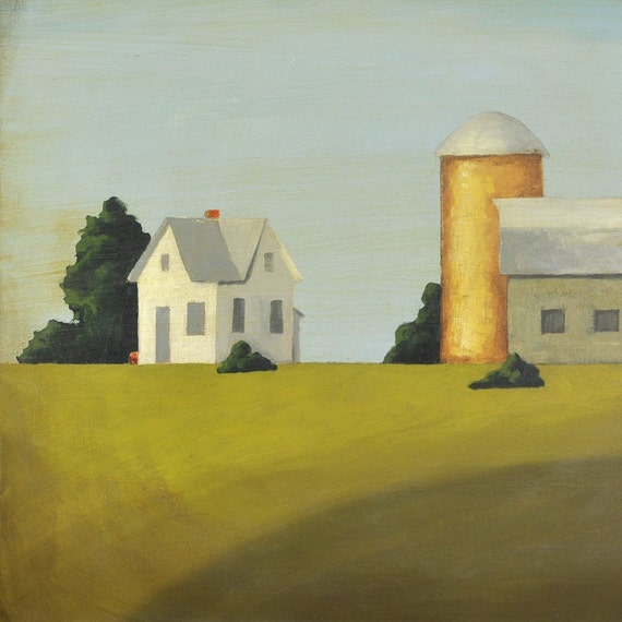 Greenfield Farm - Large Original Farm Painting on Canvas by Nancy Jean - 24 x 24 Inches