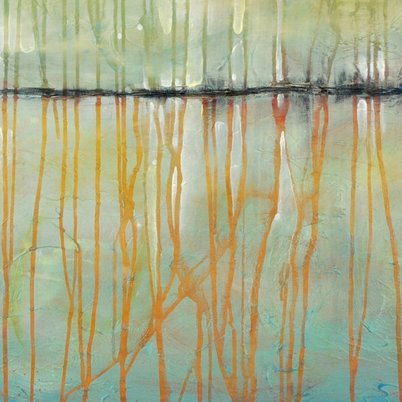 Large Abstract Painting - Shimmer Lake - 24 x 36  Inches - Abstract Painting - Tuquoise Blue Tangerine Orange