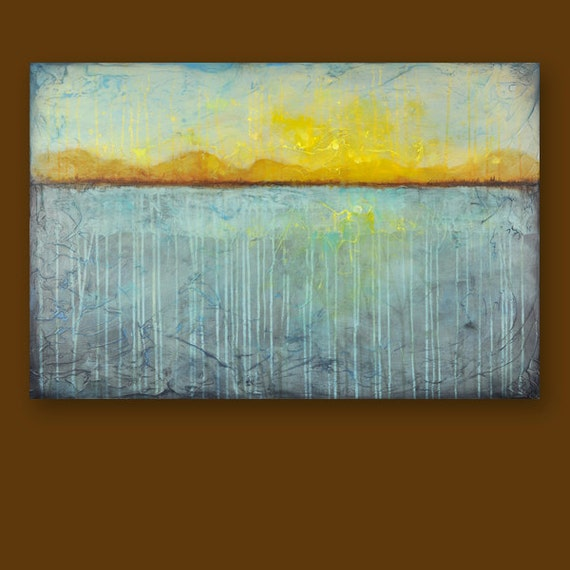 Large Landscape Painting - Daybreak Lake Painting- 24 x 36 Inches - Abstract Modern Landscape - Aqua Teal Rust Yellow