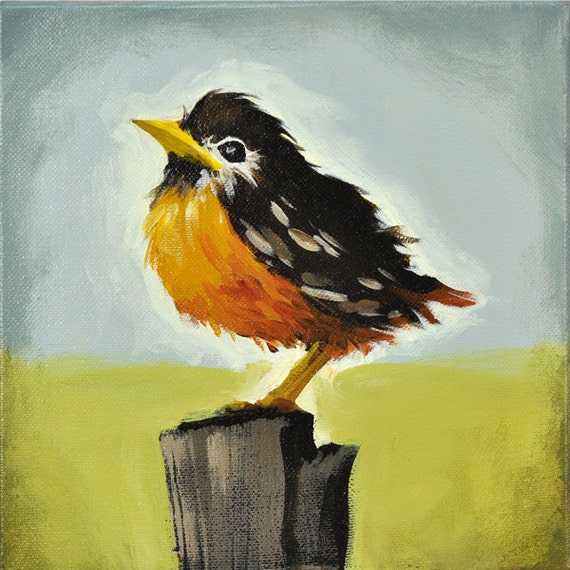 Reserved for Cheri - Ready to Fly - 8 x 8 Inch Baby Robin Bird Painting on Canvas by Nancy Jean  - Sweet Gift