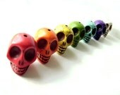 Oversized Rainbow Howlite Skull beads - litbotanica destash