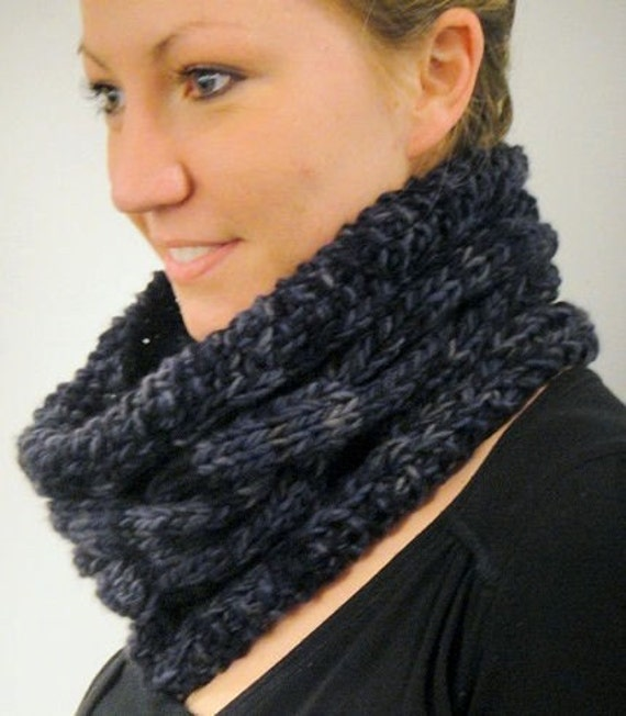 Sculpted Cowl PDF knitting pattern uses  2 strands 'Love Birds' Merino worsted softspun singles yarn