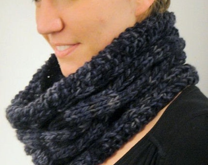 Sculpted Cowl PDF knitting pattern uses  2 strands 'Love Birds' Merino worsted softspun singles yarn
