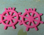 2 pink ship's helm steering wheel charms