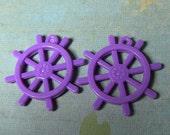 2 purple ship's helm steering wheel charms
