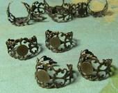 10 brass filigree adjustable ring base