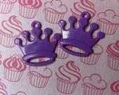 2 purple crown charms