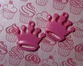 2 bright pink crown charms
