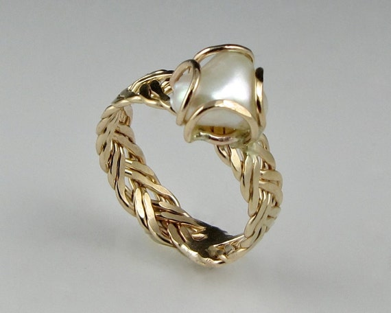 Freshwater Pearl Ring, Hammered Braid, 14KGoldfill