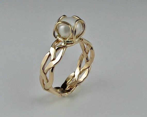 Braided Ring with Freshwater Pearl, 14KGoldfill