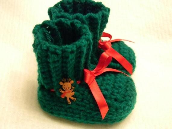 Green Crochet Booties    item 00084