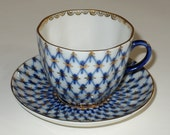 Antique  Porcelain Lomonosov Russian Cup Saucer Cobalt blue