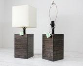 Set of Modern Square Wood Table Lamp-Ebony