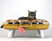 RESERVEDUpcycled Suitcase Pet Bed in Mustard Yellow