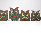 Vintage Stained Glass Owl Coaster Trivet Set