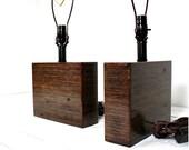 Modern Square Wood Table Lamp-Mahogany