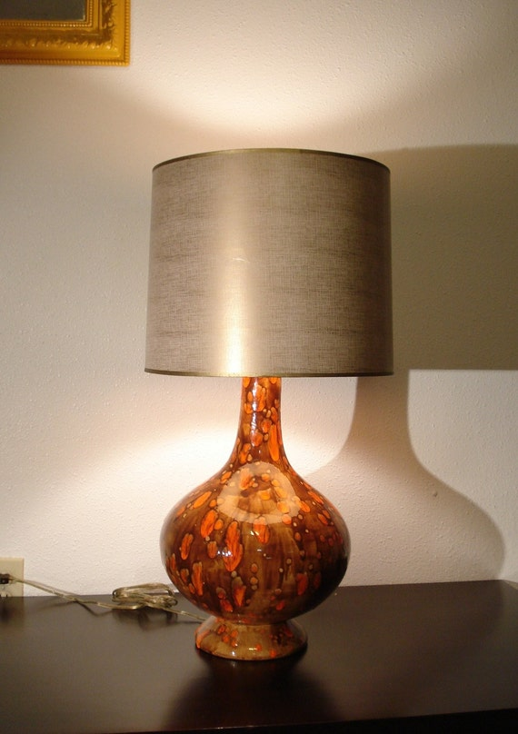 Mid Century Drip Glaze Orange Amp Brown Ceramic Lamp By