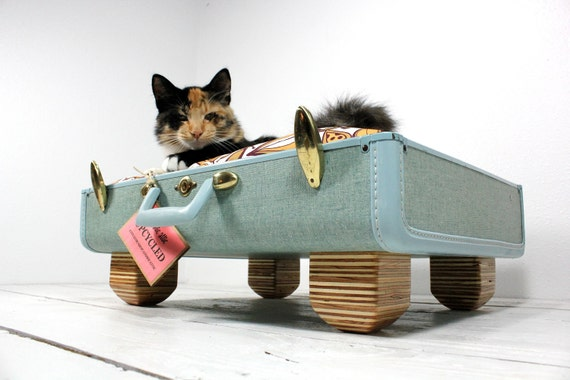 Upcycled Sky Blue Suitcase Pet Bed