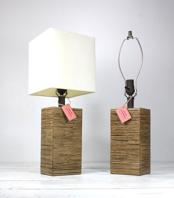 Modern Square Wood Table Lamp-Medium Walnut