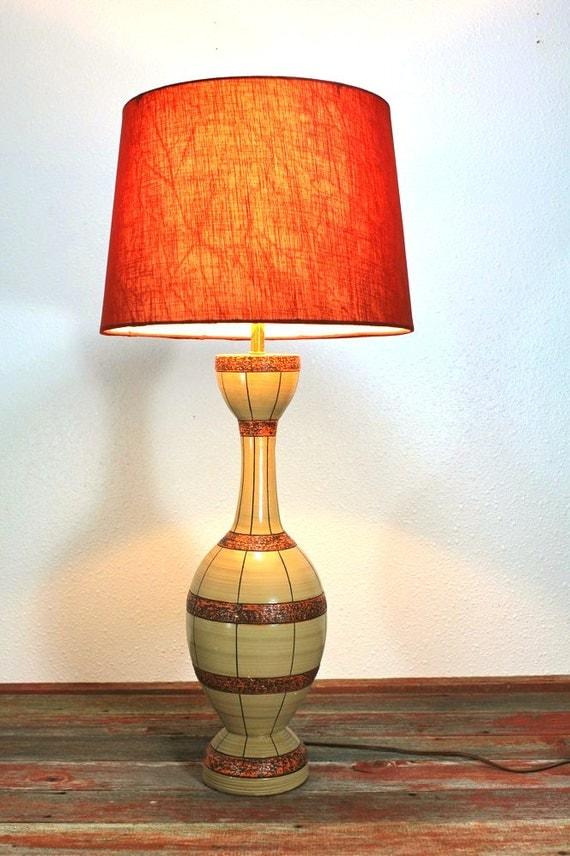 Mid Century Fortune Lamp - Brown Tan Orange Pottery