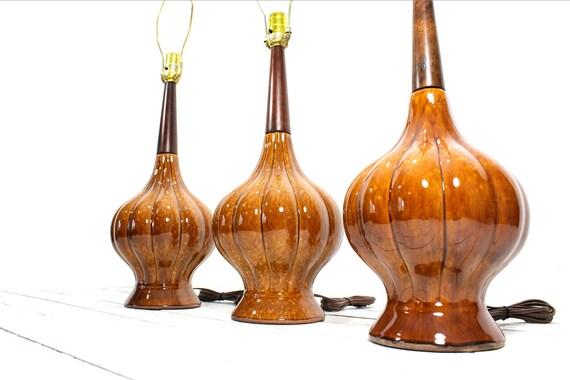 RESERVED Mid Century Set Ceramic Danish Lamps Walnut Neck