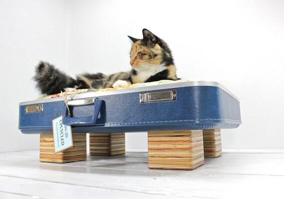 Large Upcycled Blue Suitcase Pet Bed Handmade Wood Legs