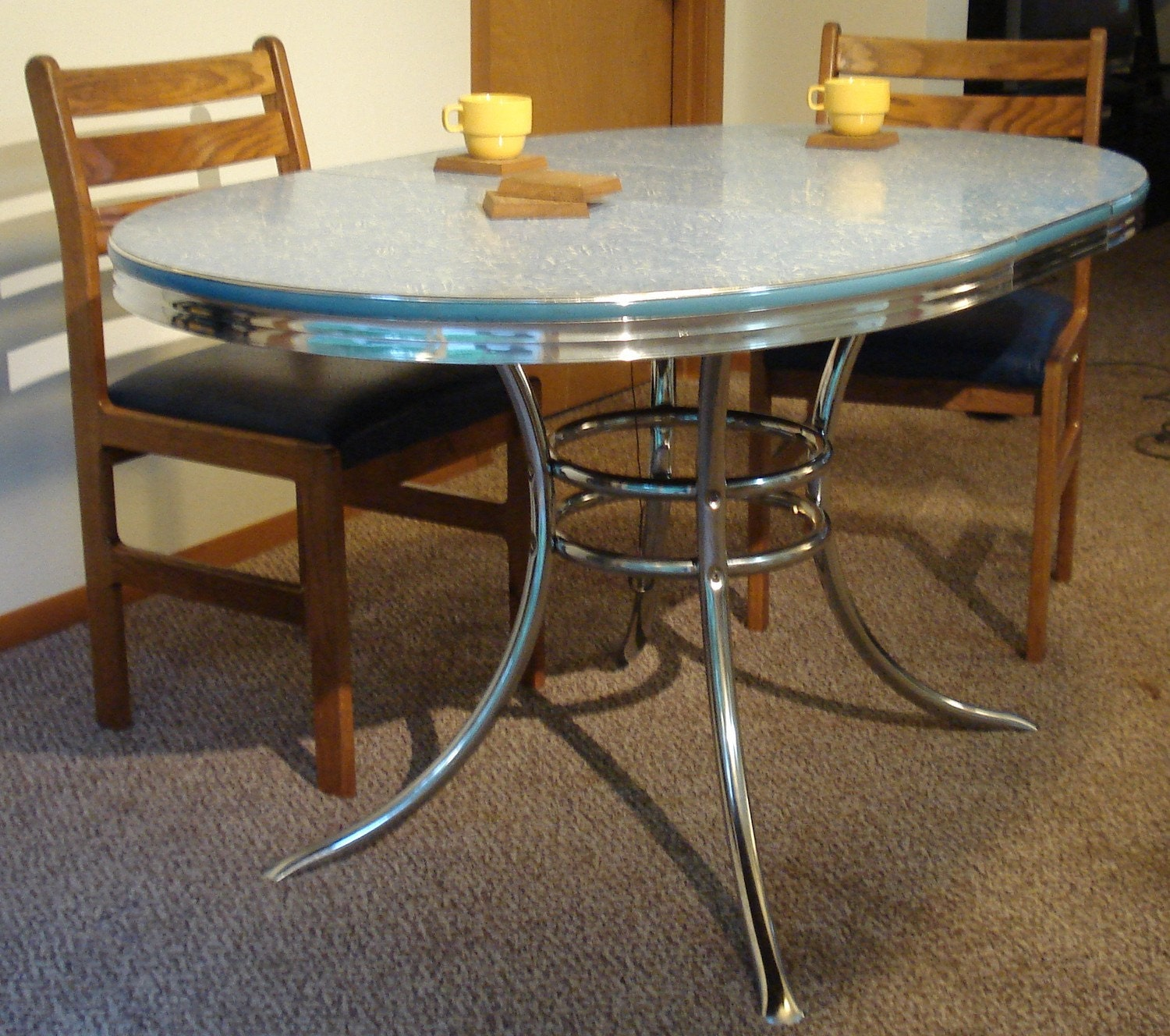baby blue retro formica table by atomicattic on etsy