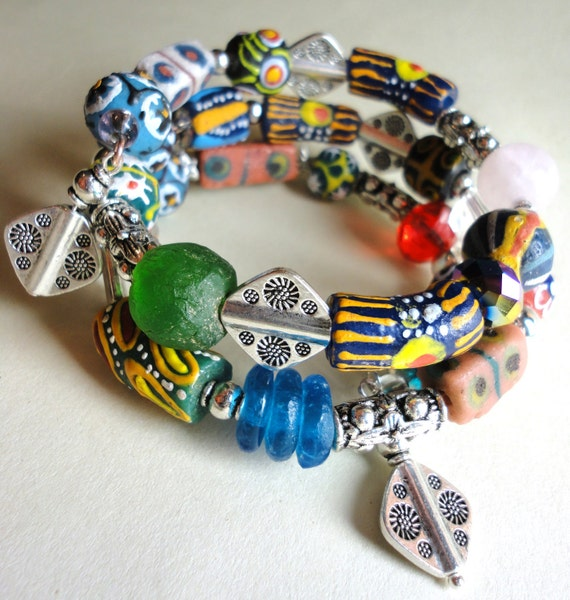 CANDY ASP TWISTER -African Trade Bead Wrap Bracelet