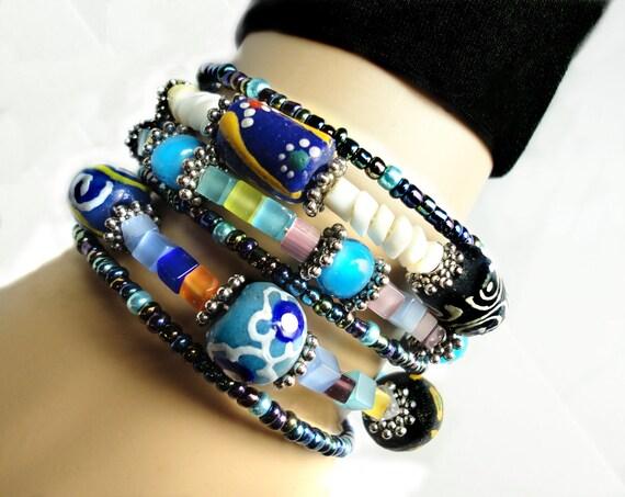 Helter Skelter- Utterly Beautiful Wrap Cuff Bracelet :) 6 in 1