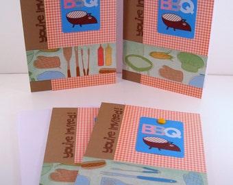 Set of 4 Barbeque Invitations