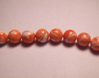 Clearance- Orange & White Swirl Beads
