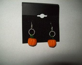 Pumpkin Lampwork Earrings
