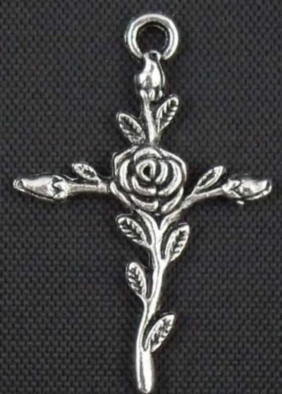Rose Cross Charm