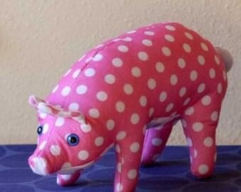 Pink Polka Dot Felt Pig