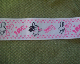"1 1/2"" Love Bunnies Grosgrain Ribbon - 1 Yard"