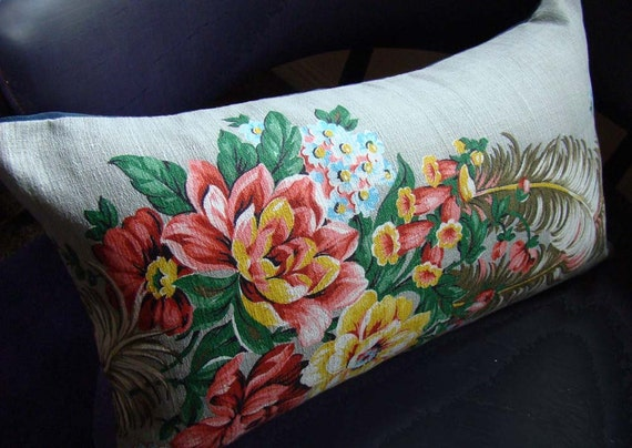 Vintage Barkcloth Fabric Cushion Pillow Cover with Feathers and Flowers