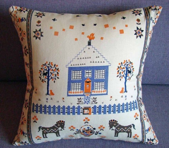 On Sale Folk Art Vintage Cushion Cover