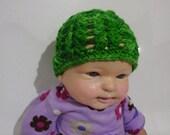 Crochet Newborn Baby Beanie - Machine washable merino.
