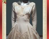 French Silk Peau De Soie Wedding Gown Circa 1950 Amazing  2