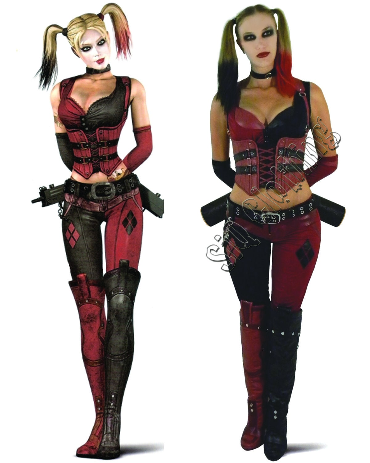 harley quinn arkham city costume by siqclothing on etsy. Black Bedroom Furniture Sets. Home Design Ideas