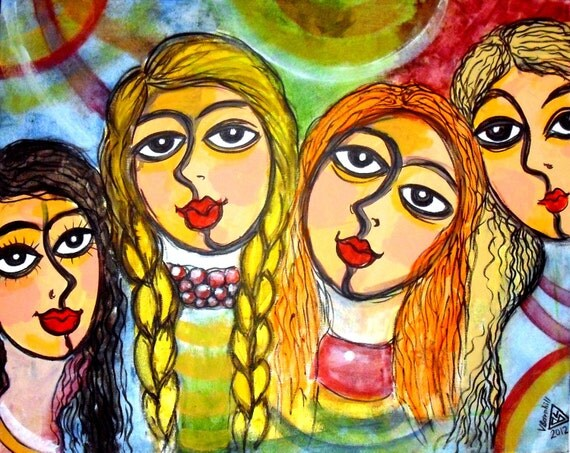 CHAGALL GIRLS, Prints of Valeria Barnhill's original acrylic painting. Greeting cards.