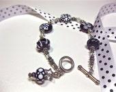 Handmade Lampwork Purple, White & Silver Bead Bracelet 136