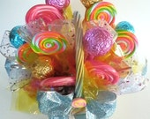 Fake Candy Arrangement Basket Centerpiece with Handmade Clay Lollipops
