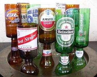 The Original Beer Bottle Wine Glasses Goblets Candle Holders Set Of 2