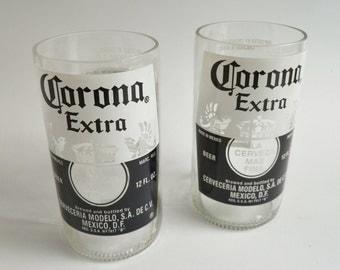 Beer Bottle Drinking Glasses Corona Extra Tumblers Set of 2