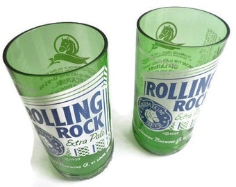 Beer Bottle Drinking Glasses Rolling Rock Tumblers Set Of 2