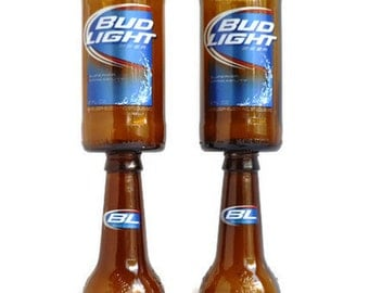 Beer Bottle Wine Glasses Bud Light Goblets Candle Holders Set Of 2