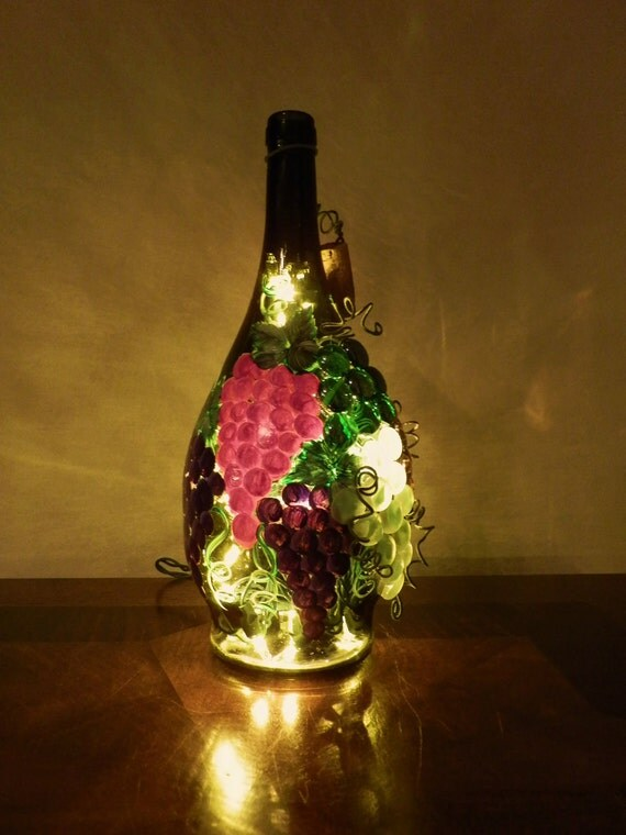 Tuscan Grapes Lighted Wine Bottle