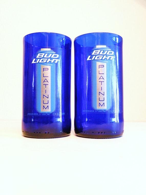 Beer Bottle Drinking Glasses Bud Light Platinum Tumblers Set Of 2